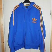 Mens  Adidas  Zip Up Hooded Tracksuit Jacket Size Xl-Xxl Blue Orange Hoodie Photo