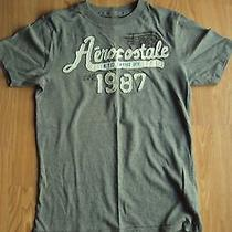 Mens Aeropostale Gray Short Sleeve T-Shirt White Vintage Style Lettering Size Xs Photo