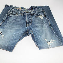 Mens American Eagle Distressed Boot Cut Jeans Size 26x28 Photo