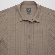 Mens Armani Exchange A/x L/s Cotton W/ See Through Stripes Taupe Large Nwot Photo