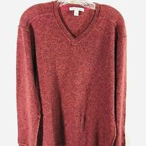 Mens Autumn 100% Cashmere L/s v Neck Sweater Maroon  - Size Xl Photo