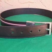 Mens Bally 'Tamer' Signature Stripe Reversible Leather Belt Sz 85-34  Photo