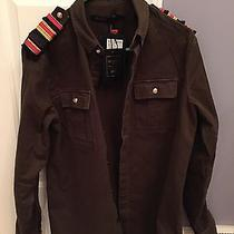 Mens Balmain h&m Military Olive Green Khaki Epaulette Shoulder Tabs Shirt Medium Photo