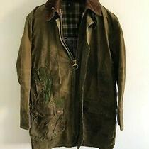 Mens Barbour Border Wax Jacket Dark Green Coat 40 in Size Small / Medium S/m Photo
