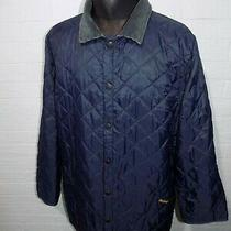 Mens Barbour Vintage Quilted Blue Jacket Size L Photo