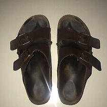 Mens Birkenstock Men's Brown Leather Sandals Sz 13/46 Slides Photo