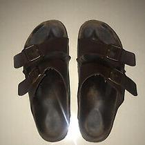Mens Birkenstock Men's Brown Leather Sandals Sz 13/46 Slides Photo