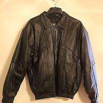 Mens Black Leather Bomber Jacket L Fashion Elements Excellent Condition Photo