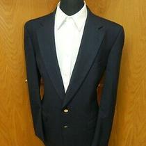 Mens Blazer Sport Coat Jacket Burberrys 42l Wool Blend Dark Navy Blue N38 Photo
