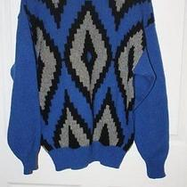 Mens Blue Shetland Wool Heavy Ski Sweater Parker of Vienna Sz Medium Warm Photo