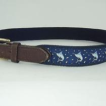 Mens Boys 30 Vineyard Vines Marlin Fish Fishing Belt Blue Made in Usa Euc Photo