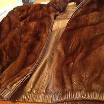 Mens Brown Lamb Leather and Fur Reverisble Bomber Jacket Size 3x Photo