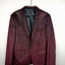 Mens Burton Menswear London Velvet Style Jacket Blazer Size 42 R Red Button Up Photo