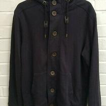 Mens Burton Navy Spring Button Hooded Hoodie Jacket Size Medium R11-Cf Photo