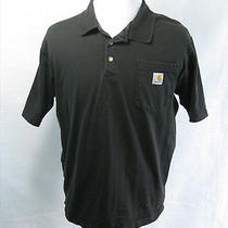Mens Carhartt Black Short Sleeve Polo Shirt (Size Medium m) Classic Cotton Top Photo