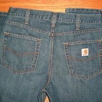 Mens Carhartt Denim Blue Jeans Straight Leg 36 X 32 34 Photo