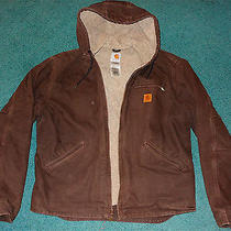 Mens Carhartt L Dark Brown Sherpa Lined Hooded Jacket Large Photo