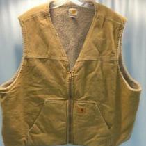 Mens Carhartt Sherpa Fleece Lined Vest Brown Sz 3xl Photo