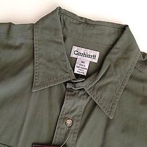 Mens Carhartt Short Sleeve Khaki Green Solid Work Shirt Size Xlt Xl Tall Photo
