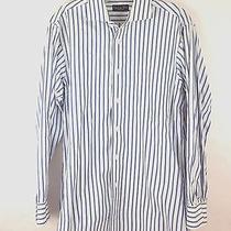 Mens Christian Dior Vintage Blue White Stripe Dress Button Front Shirt 15-32  Photo