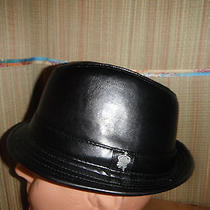 Mens Christys Faux Leather  Fedora  Hat Black Large New Photo