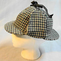 Mens Christys London Double Bill Flap Wool Houndstooth  Hat W/ Feather  Sz Small Photo