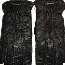 Mens Coach Black Deerskin Leather Gloves Size Small 8.25 Barely Worn Slight Use Photo