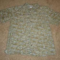 Mens Columbia 100% Cotton Fishing Shirt Fish Design Size Xl  Photo