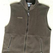 Mens Columbia Brown Soft Fleece Full Zip Vest Size Large Jacket Photo