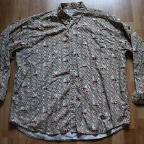 Mens Columbia Fish Tackle Pattern Button Front L/s Shirt Sz Xxl Fly Fishing Photo