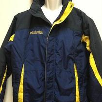 Mens Columbia Jacket Coat Outdoor Hood Navy Yellow Small S Photo