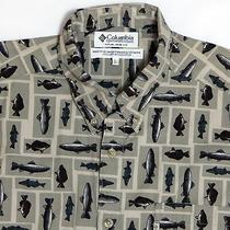 Mens Columbia Long Sleeve Shirt Large Beige Green Fish Print Fishing 100% Cotton Photo