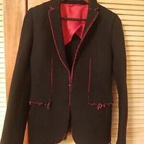 Mens Costume National Black Blazer Sport Coat With Shredded Red Trimjacket Eu 42 Photo