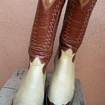 Mens Cowboy Western Boots Tony Lama Size 7.5d Fancy Brown Leather Ranch Riding Photo