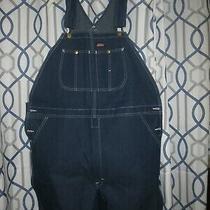 Mens Dickies Bib Overalls Size 40 X 32 New Wot Dark Blue Jeans Photo