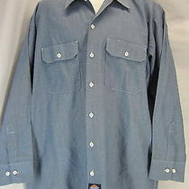 Mens Dickies L Blue Chambray Square Tail Long Sleeve Work Skirt Grunge Skate Guc Photo