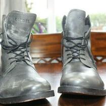 Mens Diesel 6 Eyelet Combat Boots Mid Size 42.5 Eu 9.5 Us Gray Leather (Bin J11) Photo