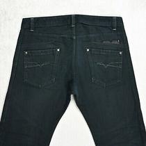 Mens Diesel Darron Slim Fit Jeans Size W32 L31 Tapered Leg Dark Black Wash 008qu Photo