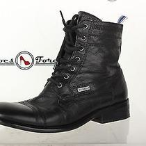 Mens Diesel Stylish Black Leather Military Boots Shoes Sz. 43 M Great Photo