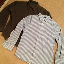 Mens Dockers Recode Long Sleeve Button Up Down Gray & Mossimo Blue Striped Sz L Photo