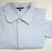 Mens Dress Shirt Size Xxl 2xl Gap Premium Blue White Striped 100% Cotton Photo