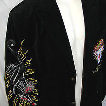 Mens Ed Hardy Black Velvet Jacket Size S Photo