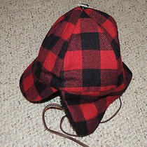 Mens Eddie Bauer Red Black Fur Trim L/xl Quilted Lined Winter Hat Ear Flaps Photo