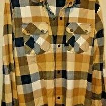 Mens Element Brown Tan White Plaid Flannel Classic Fit Shirt Long Sleeve Xl Photo