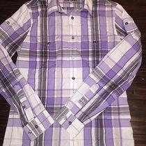 Mens Express Button Down Fitted Dress Shirt Top Purple White Gray Plaid Small S  Photo