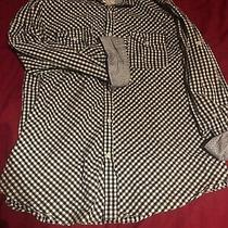 Mens Express Checkered Navy and White Large 16 16.5 Casual Fit Flip Cuff Photo