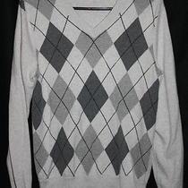 Mens Express  Cotton Merino Wool v-Neck Argyle Sweater Size Small S Grey Black  Photo