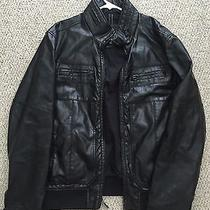 Mens Express Faux Leather Jacket Black M Photo