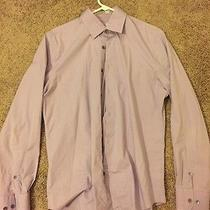Mens Express Fitted Dress Shirt Purple Large Stretch Cotton Photo
