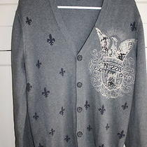 Mens Express Grey v-Neck  Button Up Cardigan Size Small  Photo